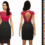 Floral Lace Peplum Dress ~ NyGirl Sims