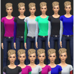 Layered Long Sleeve Female Tees | Simista A little Sims 4 Site