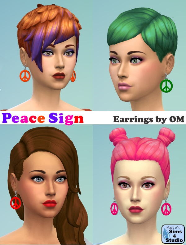 Peace Earrings | Sims 4 Studio