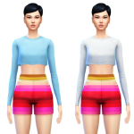 Sim4ny   Cropped Top Shirt with Long Sleeves