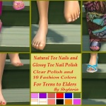 Shylaria's Natural and Glossy Polished Toe Nails for Teen-Elder