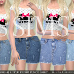[JS SIMS 4] Ripped Denim Pencil Skirt | JS SIMS