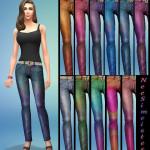 Crushed velvet pants in 12 shimmery, multi-colors for Sims 4 females