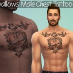 luvjake's Swallows Chest Tattoo for Males