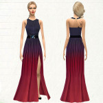 melisa inci's Halter Ombre Color High Slit Maxi Dress