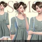 [JS SIMS 4] Leaf Lace Dress | JS SIMS