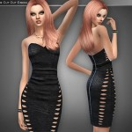 Cre8Sims' Black Leather Bandage Dress