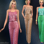 Harmonia's Wide-leg Pants Sequined Jumpsuit
