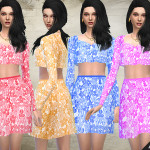 Fritzie.Lein's Floral Embellished Top and Skirt