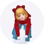 SIMS4 marigod: child_cat hood scarf_unisex_고양이 귀 달린 후드 목도리_남녀 어린이 목도리