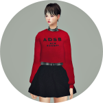 SIMS4 marigold: Crop Sweatshirt With Shirt_크롭 스웻셔츠와 셔츠_여자 의상
