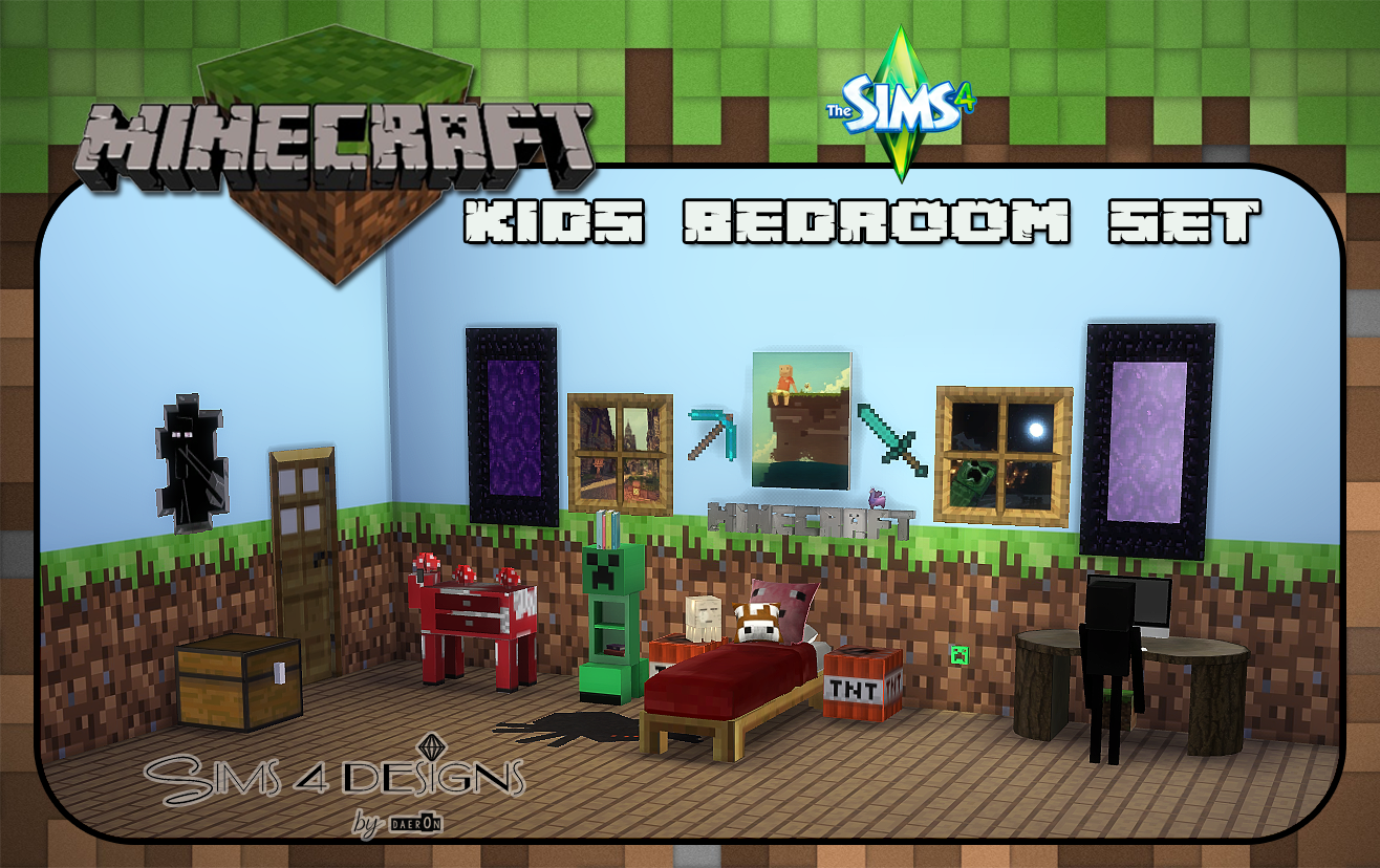 Minecraft kids bedroom set new meshes sims 4 designs for Bedroom designs sims 4