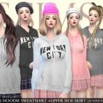 [JS SIMS 4] Hoodie Sweatshirt +Upper side skirt | JS SIMS