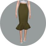 SIMS4 marigold: Mermaid Line Midi-Skirt_v2.single colors_머메이드 미디 스커트_단색 버전_여자 의상