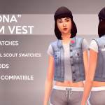 GOHLIAD || MAXIS MATCH TS4 CREATIONS : RAMONA DENIM VEST Here is a vest + short sleeve…