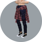 SIMS4 marigold: Male_Tied Shirt Jeans_ ponytail shirt _ men in jeans outfit