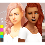 sims trash #1 Shaved Hair Recolors // Habsims' Sara Hair + Edibleplumbob's Gwen Hair