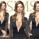 [JS SIMS 4] Long Sleeve All Over Lace Playsuit With Bardot Neckline | JS SIMS