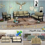 "TS3 EA Sofa Set ""Farm Chic"" Conversion & Recolors"