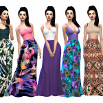 Sims 4 Stuff, High Waisted Maxi Skirts Recolors Maxi skirts are…