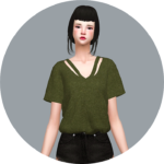 SIMS4 marigold: V-Line Top_ V _ A woman in costume t-shirt line