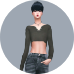 SIMS4 marigold: Rough Crop Top_ rough Crop Tops _ A woman in costume