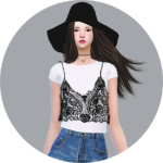 SIMS4 marigold: Lace Bustier With TShirt_ lace bustier and T-shirts _ A woman in costume