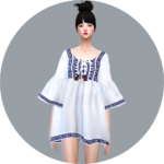 SIMS4 marigold: Tassel Blouse_ tassels blouse _ A woman in costume