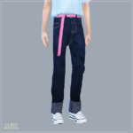 Male_Retro Roll-Up Jeans With Belt_벨트 달린 레트로 롤업 청바지_남자 의상 – SIMS4 marigold