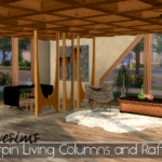 3t4 Awesims Hairpin Living Columns and Rafters Set | Sims 4 Designs