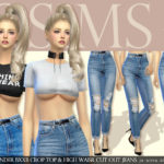 [JS SIMS 4] Under Bxxb Crop Top & High Waisr Cut Out Jeans | JS SIMS