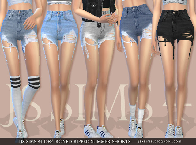 [JS SIMS 4] Destroyed Ripped Summer Shorts