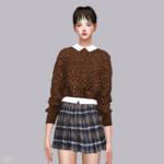 Crop Knit Sweater With Shirts_크롭 니트 스웨터와 셔츠_여자 의상 – SIMS4 marigold