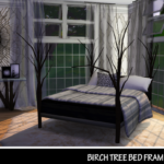 Sims 4 Wonderland: Birch Tree Bed Frame & Endtable