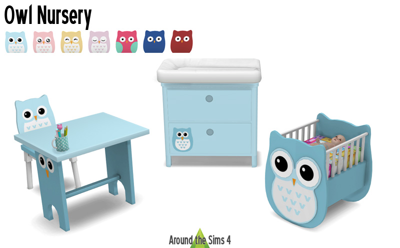 Around the sims 4 custom content download owl nursery for Sims 3 chambre bebe