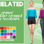 oranos' shoulder cropped top recolours