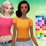 Aveira's Sims 4, Backyard Stuff Boat Neck Tee – Recolor 66 Colors …