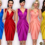 Harmonia's Plunging V-neckline Gathered Silk-Satin Dress