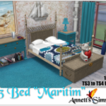 "TS3 to TS4 Bed ""Maritim"" – Conversion by ChiLLi Sims – Recolors by Annett85"