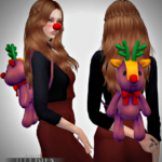 Jennisims: Downloads sims 4: Set Accessorys Snowflake Outfit (Nose Rudolph,Backpack,Headband Reno,Tree)