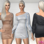 sims2fanbg's 273 – Bare shoulder dress