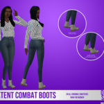 Female Patent Combat Boots – Onyx Sims