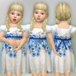lillka's Blue Floral Dress with Ribbon Belt