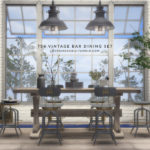 LOVENINESOULS VINTAGE BAR DINING SET