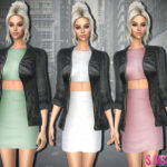 sims2fanbg's 329 – Dress With Leather Jacket