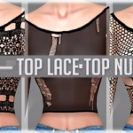Jennisims: Downloads sims 4:Top and Accessories Lace Happy Find