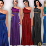 Harmonia's One Shoulder with Golden Belt Maxi Dress