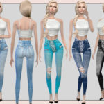 melisa inci's Stretch Denim Lace Up Skinny Jeans