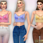 Harmonia's Crochet Lace Trim Crop Top