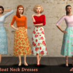 strenee sims: 20 Floral & Striped Boat Neck Dresses